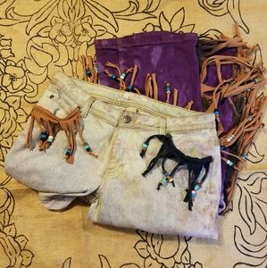 Western Boho Purple Dip Tie Dye Fringe Beaded Jean